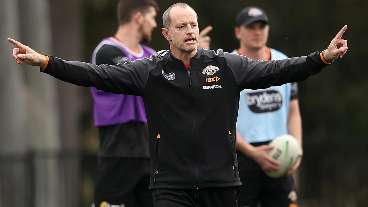 Coach Michael Maguire has been hampered in building the Wests Tigers' playing squad. Picture: Phil Hillyard