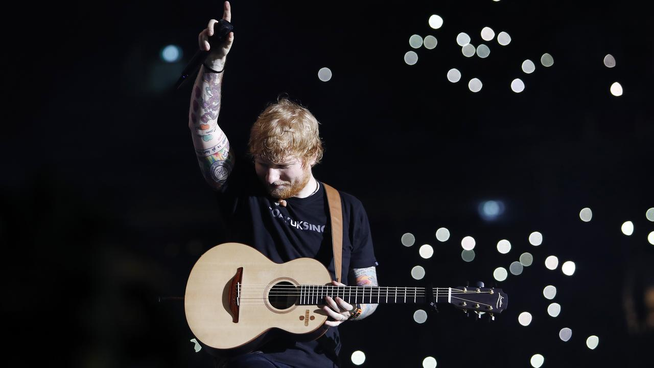 Ed Sheeran performing at Suncorp Stadium during his Australian tour in 2018. Picture: Josh Woning/AAP