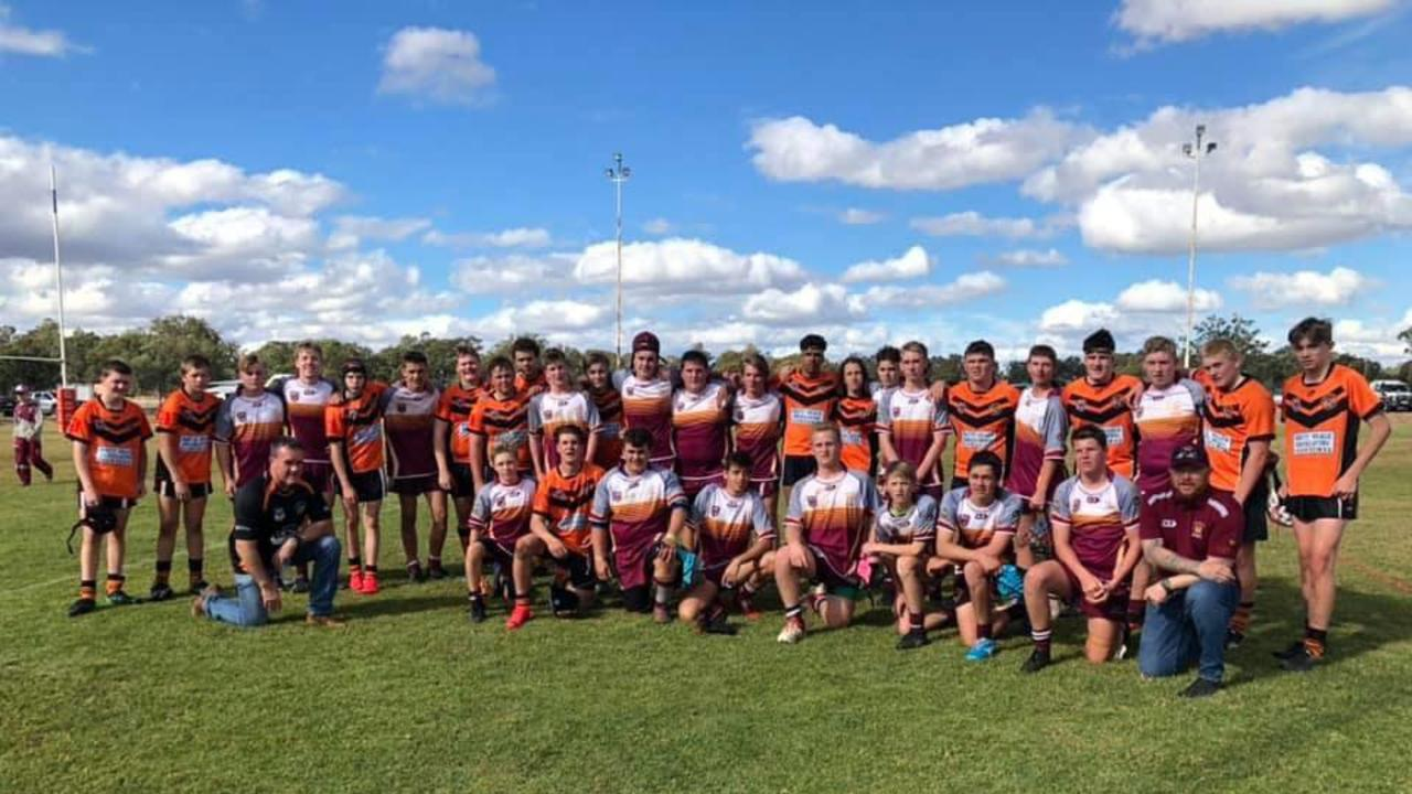 Southern Suburbs and Roma U15s players after their TJRL match in Roma.