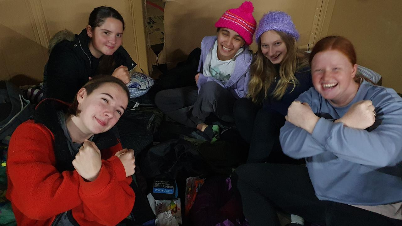 Record number of Noosa District State High School students slept outdoors to raise much needed funds for Noosa's homeless. (Year 10 student leaders Stephanie Hurst, Bhumisha Lal, Ashanti McLean, Holly Schramko, Anouk Betteridge). Picture: Supplied
