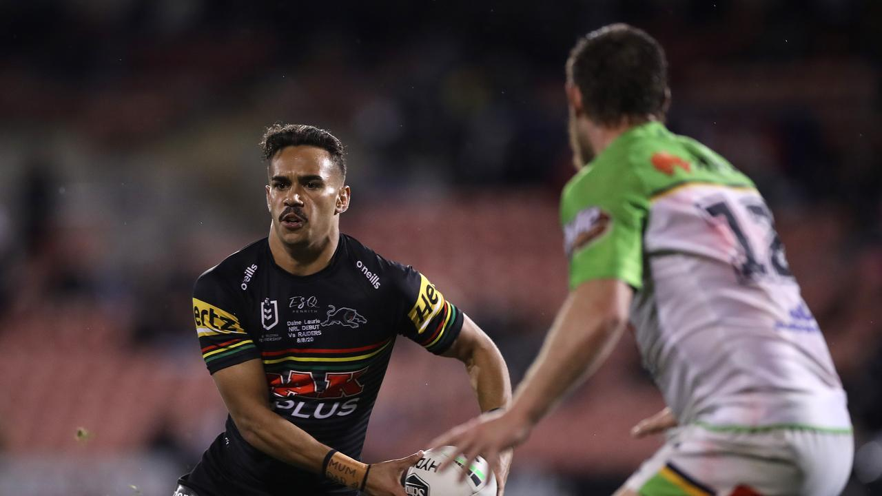 SYDNEY, AUSTRALIA – AUGUST 08: Daine Laurie of the Panthers looks to offload the ball during the round 13 NRL match between the Penrith Panthers and the Canberra Raiders at Panthers Stadium on August 08, 2020 in Sydney, Australia. (Photo by Mark Kolbe/Getty Images)