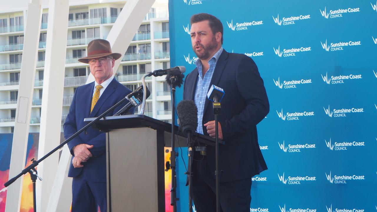 Sunshine Coast Council Mayor Mark Jamieson and McNab Sunshine Coast construction manager Carl Nancarrow announce the start of construction for the new city hall at Maroochydore City Centre.