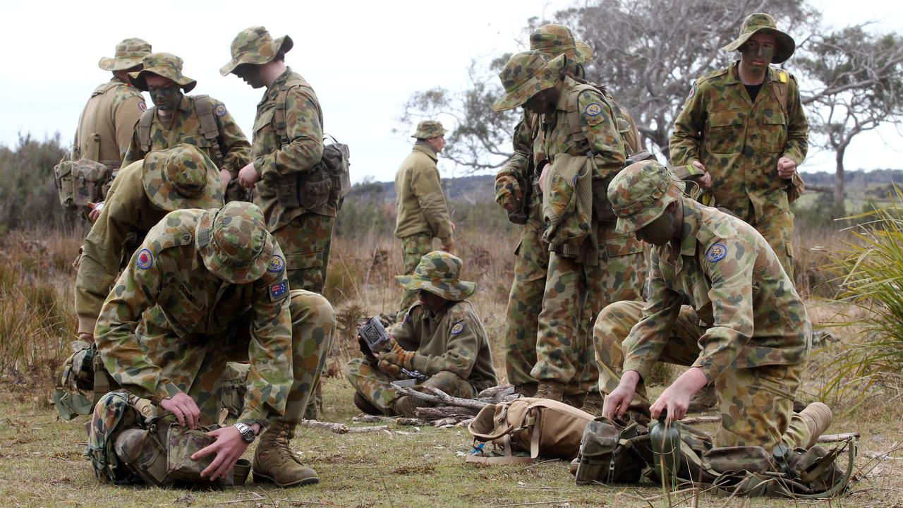 Tasmanian Australian Army Cadets on their Annual Field Exercise (AFX) at Stony Head Military Training area near Beachford in the states north. Picture: Supplied