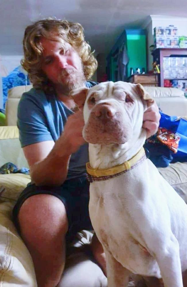 Jared Bushell and his shar pei Rafiki. Picture: Facebook