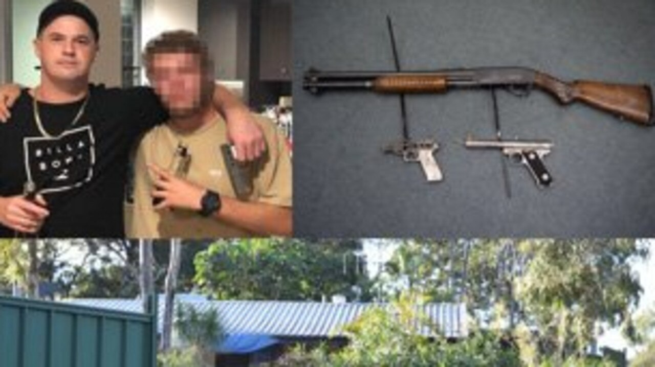 TOP LEFT: Daryl David Hall posted this photo on Facebook, in which he is pictured holding a gun which was seized as part of the search. TOP RIGHT: Weapons seized. BOTTOM: Police located drugs and other unlawful items in this house in Booral.