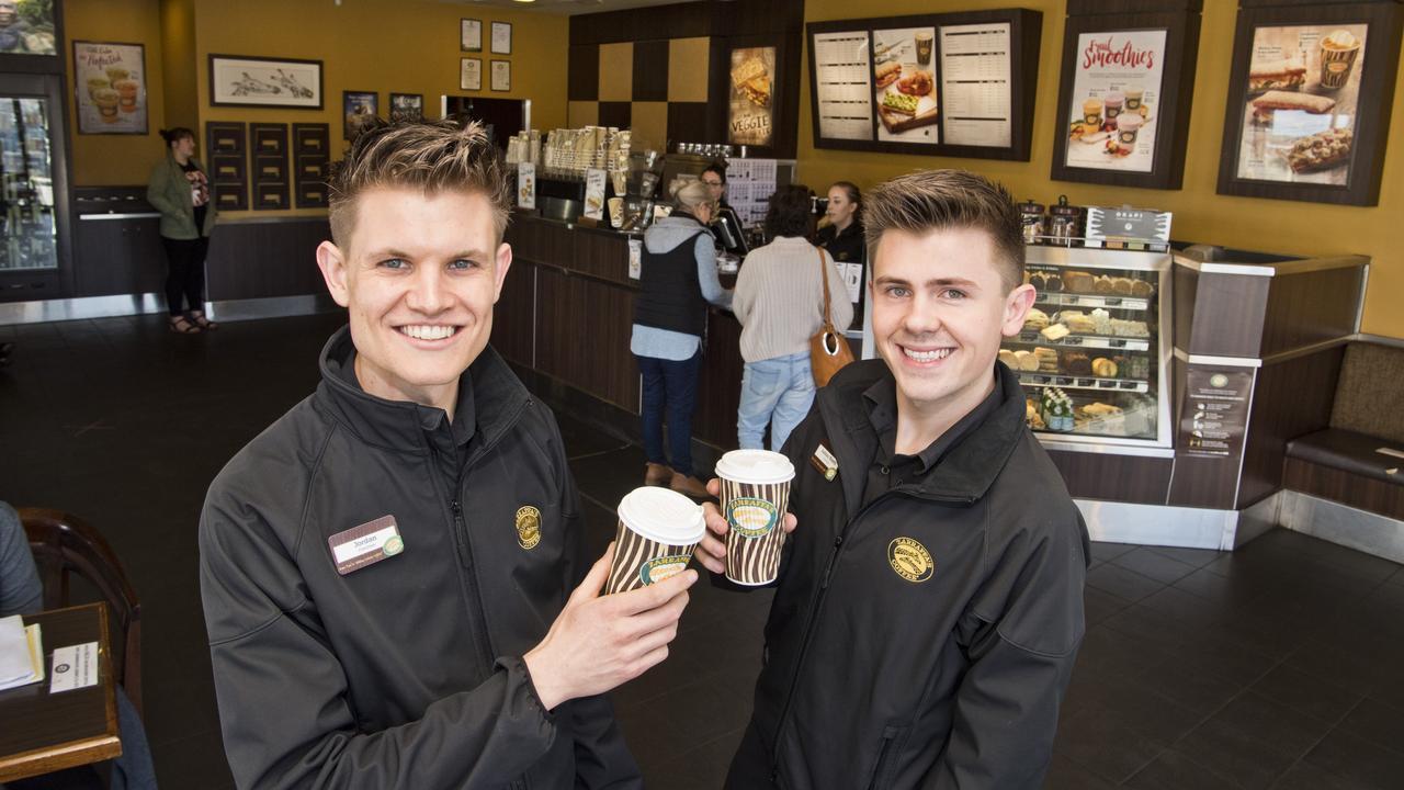 ( From left ) Jordan Wyborn and Ashley Byers enjoy great success in running Zarraffa's Coffee Toowoomba North. Wednesday, 12th Aug, 2020.