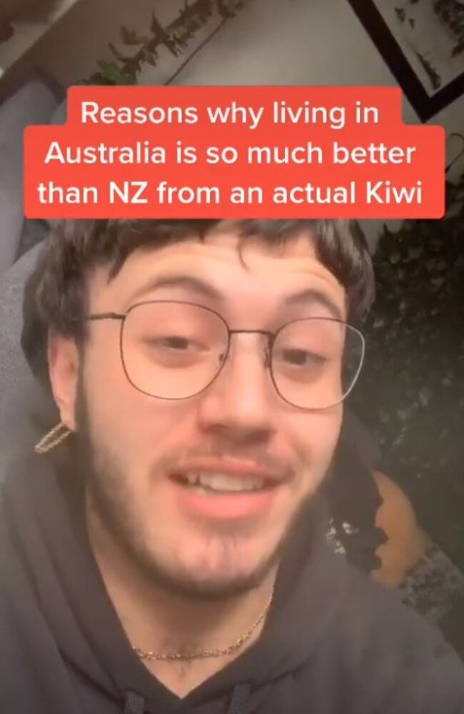 A Kiwi guy has created a video listing all the reasons he thinks 'Australia is better than NZ'. Picture: TikTok/Ethan Wolland