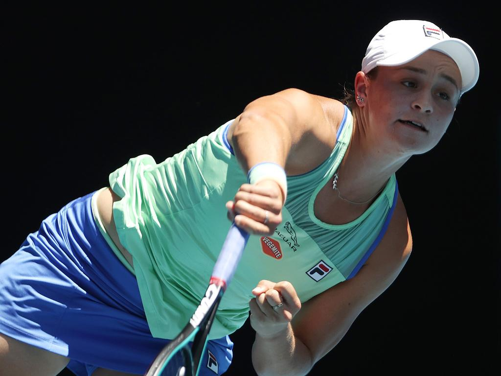 Australian Open Day 11. 30/01/2020. Ash Barty vs Sofia Kenin. Ash Barty serves. Pic: Michael Klein