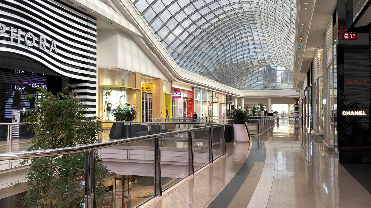 Chadstone Shopping Centre in Melbourne, usually always bustling with shoppers, is empty due to COVID-19 restrictions. Picture: Alex Coppel.