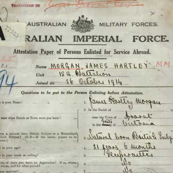 AIF record for James Hartley Morgan  Source: National Australian Archives
