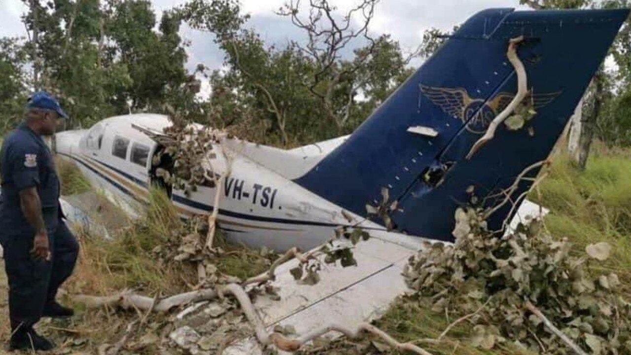 A light aircraft that crashed in suspicious circumstances just outside Port Moresby. PICTURE: DENI TOKUNAI VIA ROYAL PAPUA NEW GUINEA CONSTABULARY