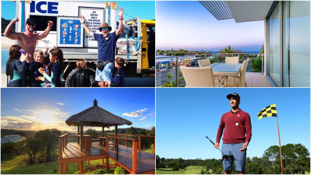 Maleny (bottom left) and Rainbow Beach (top right) are among the top-10 most searched holiday destinations in Australia. Visit Sunshine Coast attributes the star-power of the Hemsworth brothers who visited Rainbow Beach in July (pictured top left) and pro-golfer Adam Scott, who live-streamed from the Maleny golf club (bottom right).