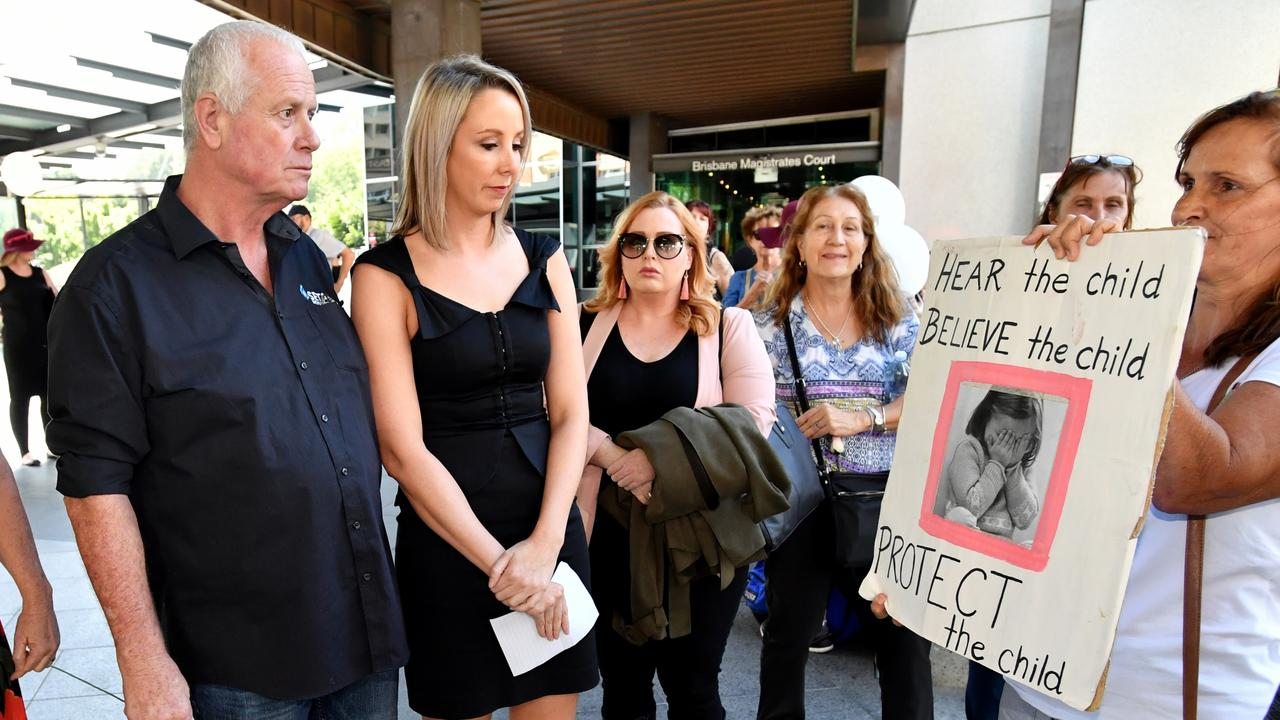Patrick O'Dea with supporters outside Brisbane Magistrates Court in April last year. Picture: AAP Image/Darren England