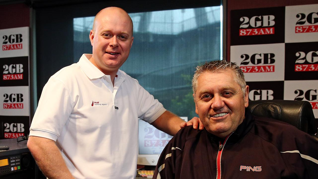 Producer Chris Bowen and radio host Ray Hadley in 2GB Sydney studios.