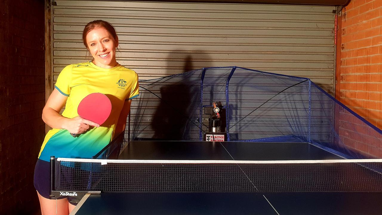 Table tennis player Michelle Bromley and Rambo during COVID. Pic: Supplied.