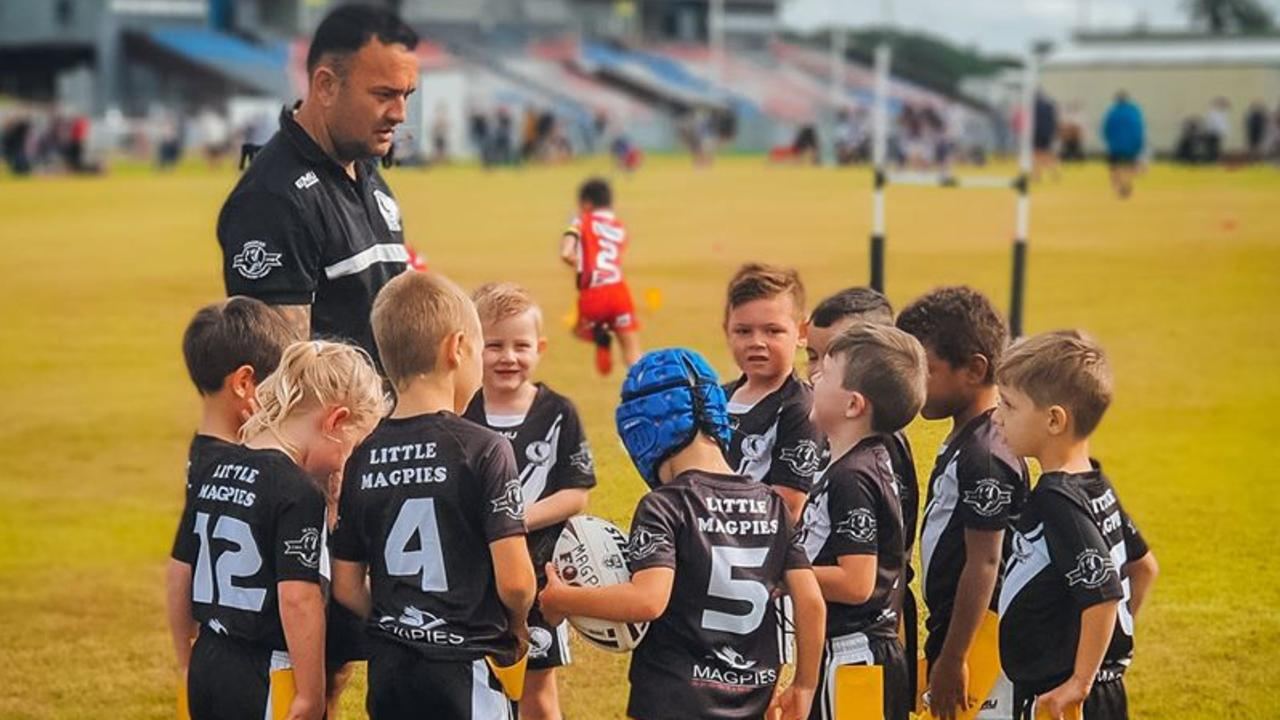 Coach Joel Danger with his Magpies U6 rugby league team. Photo: Jennifer Porter – Contributed