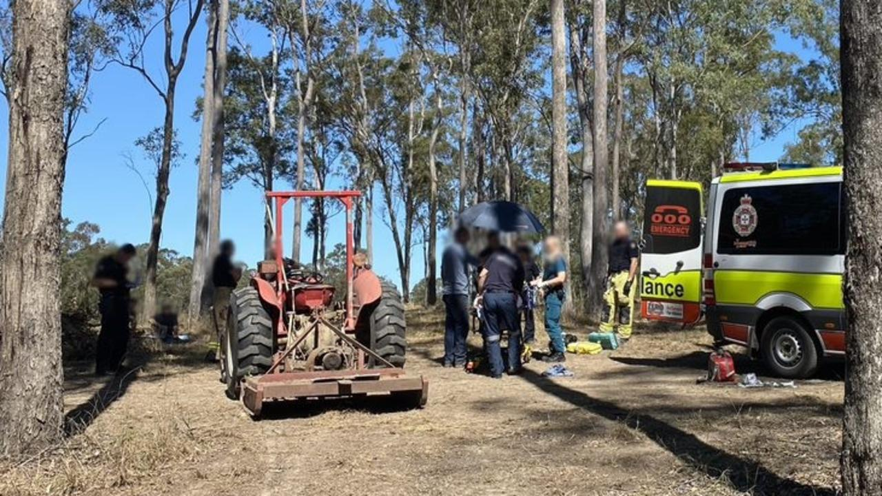 A woman has been airlifted after being run over by this tractor at a campground near Gunalda.