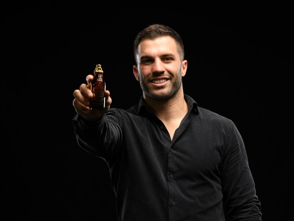 James Tedesco. of the Sydney Roosters, with the new VB fragrance, Thirst. Picture: Grant Trouville