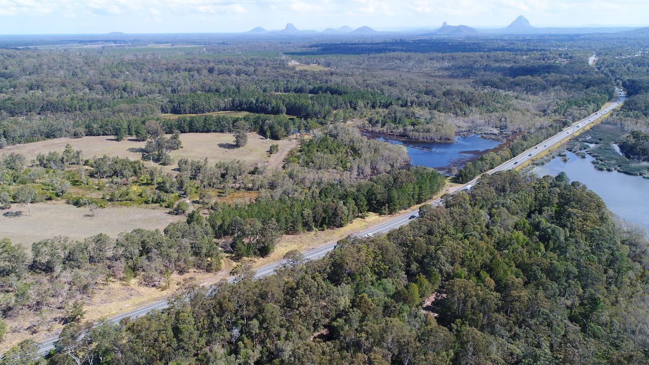 Aerial photos of Steve Irwin Way, Landsborough near Big Kart Track. Photo Patrick Woods / Sunshine Coast Daily.
