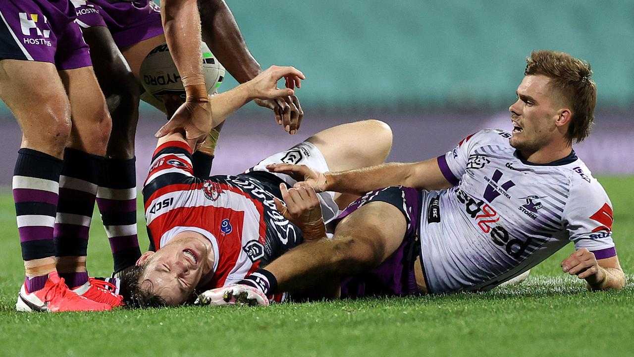 Luke Keary had a tough night at the office. Picture: Phil Hillyard