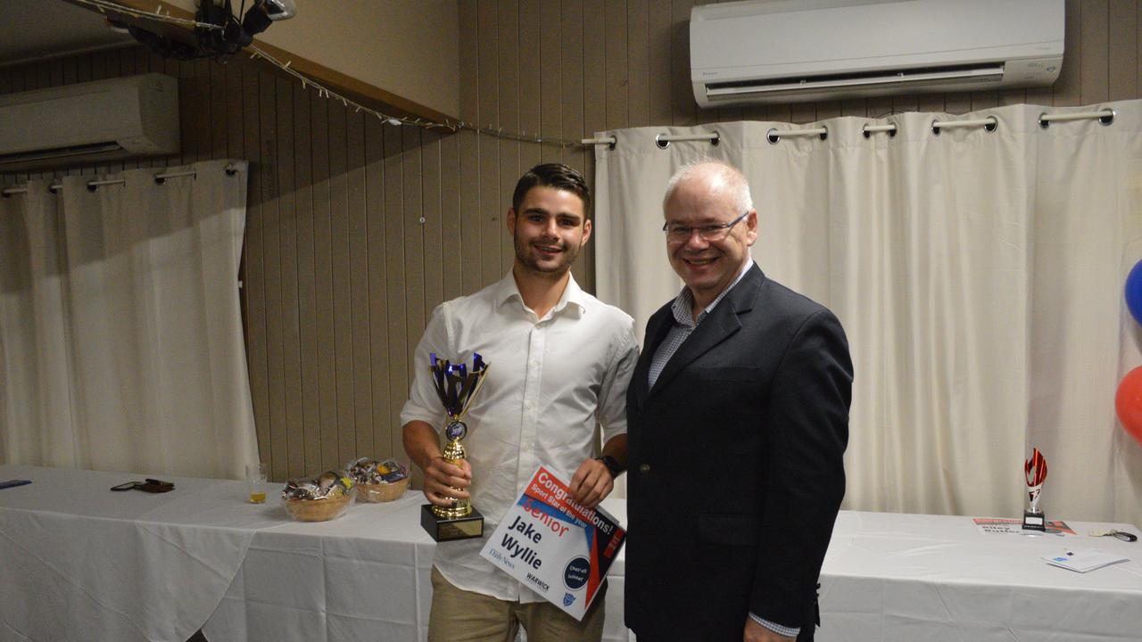 Jake Wyllie was awarded Senior Sports Star of the Year by Warwick Credit Union CEO Lewis Von Steiglitz.