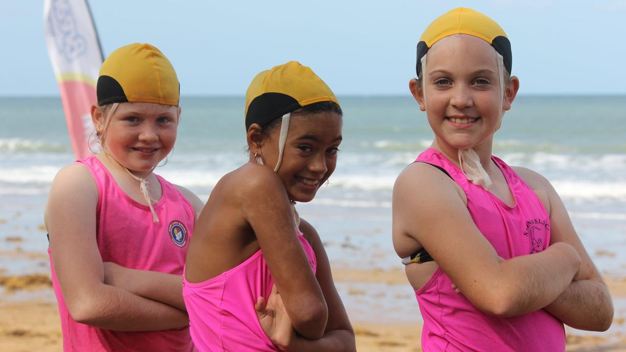 Sarina Surf Life Saving Club members Bella Grech, Brianna Renehan and Poppy Goodman. Picture: Contributed.