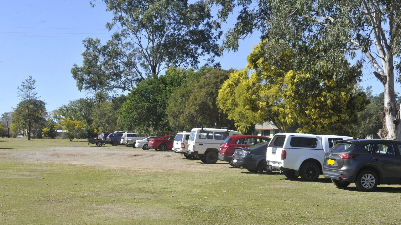 A raft of cars parked at Orara Park Golf Course in Coutts Crossing on Thursday, August 13, 2020.