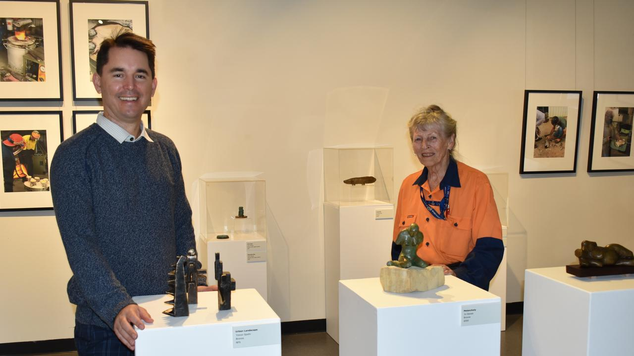 BRONZE BEAUTIES: Fraser Coast Mayor George Seymour with artist Valerie McIntosh with some of the bronze sculptures currently on display at Gatakers Artspace. Photo: Stuart Fast