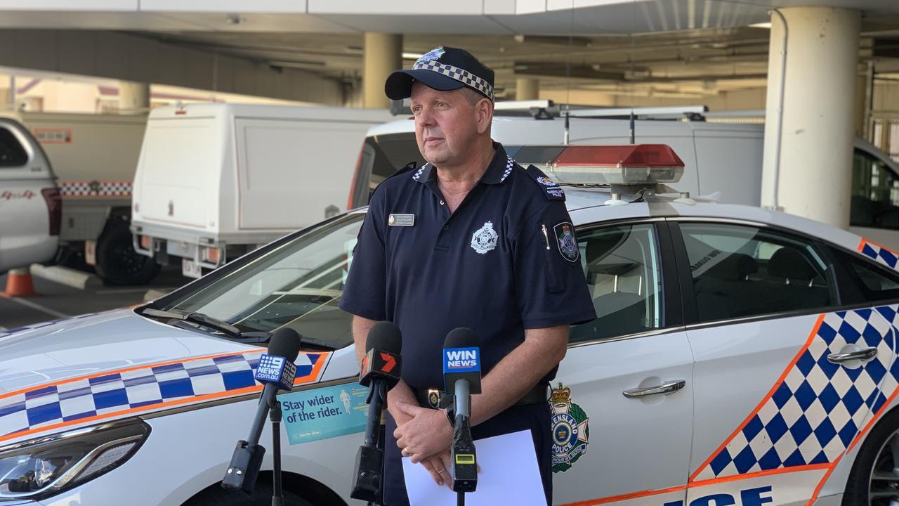 Snr Sergeant Ewan Findlater addresses the media regarding Tuesday evening's fatal crash at Springsure.