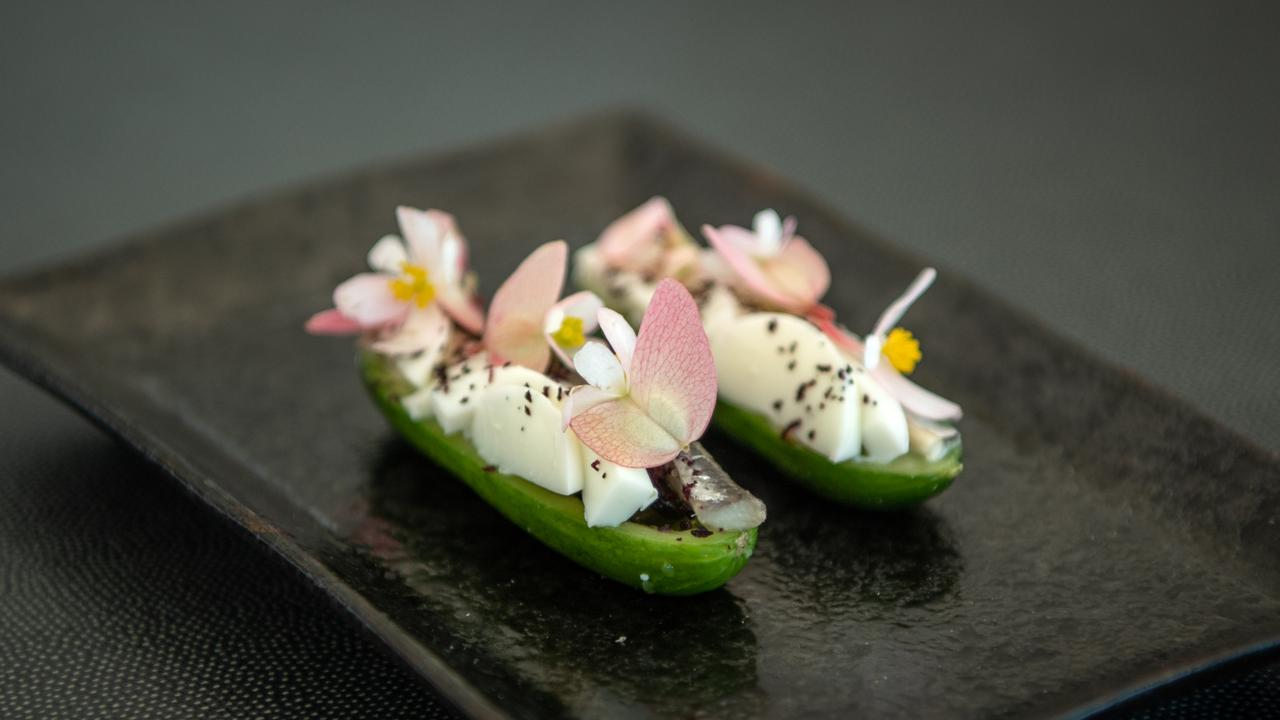 Cucumber with gribiche and white anchovy. Picture: Brad Fleet