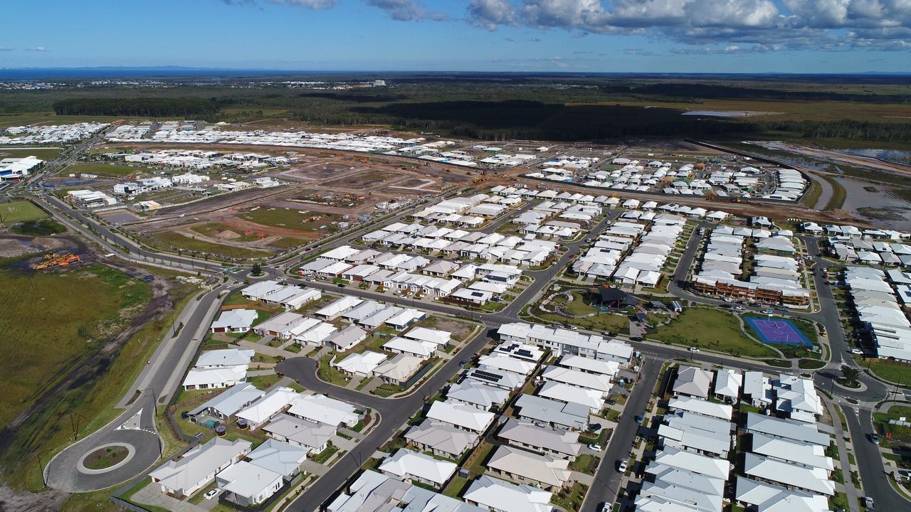 Aerial photos of the new Aura housing development at Caloundra South.