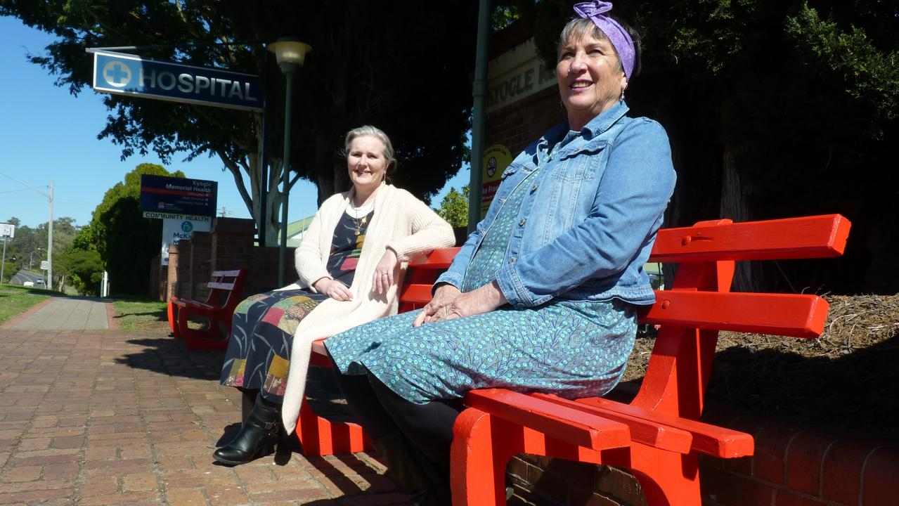 Kyogle Council Mayor Danielle Mulholland, right, and Sheryl Neilsen, of the Kyogle Family and Domestic Violence Working Group and member of the Kyogle CWA Evening Branch, hope the red benches will increase community awareness of domestic and family violence.