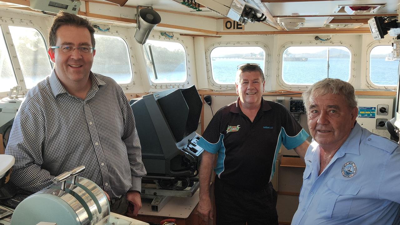 Queensland Senator James McGrath, LNP candidate for Gladstone Ron Harding and Gladstone Maritime Museum president Lindsay Wassell on board the HMAS Gladstone. Picture: Rodney Stevens