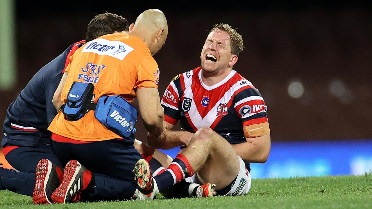 Roosters' Mitch Aubusson injured during the NRL match between the Sydney Roosters and Melbourne Storm at the SCG. Picture. Phil Hillyard