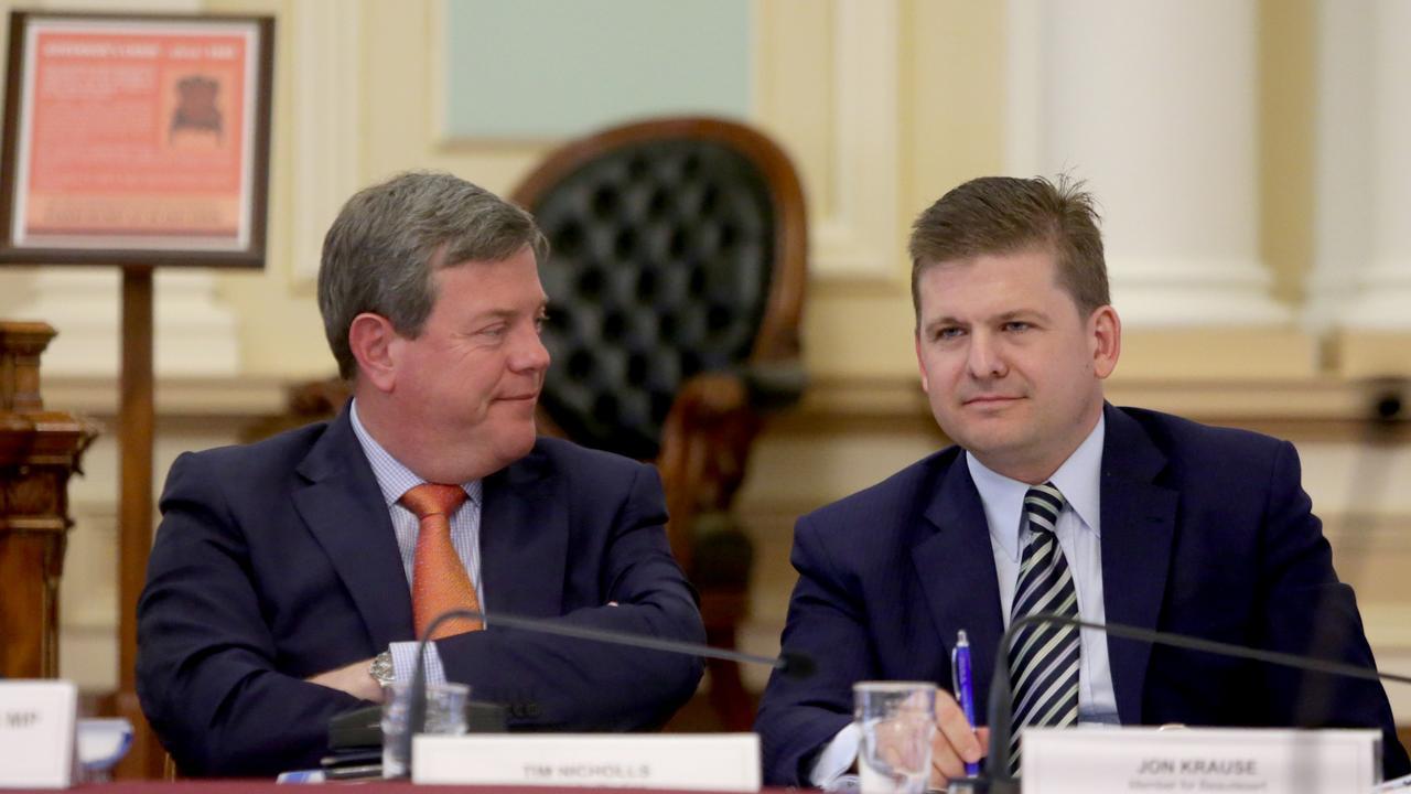 Clayfield MP Tim Nicholls with Scenic Rim MP Jon Krause. Estimate Committee hearing at Parliament House. Pics Tim Marsden