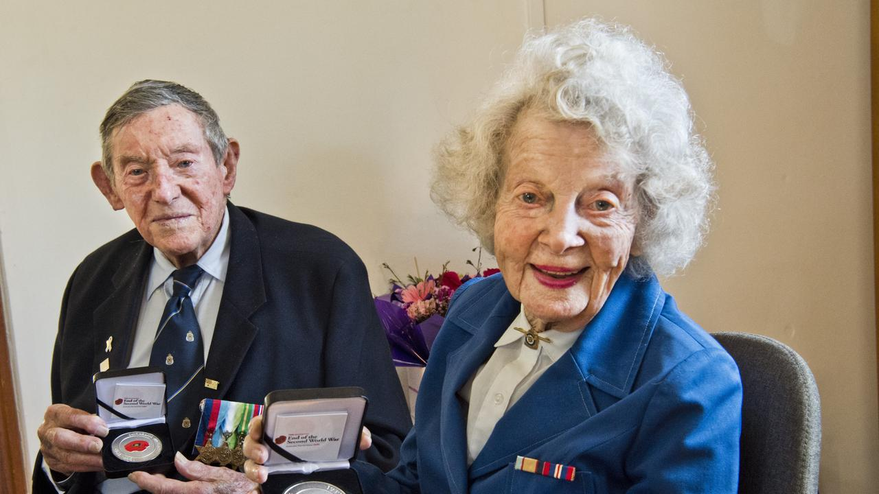 Second World War veterans Joe Treers and Barbara Thelander receive commemorative medallions to acknowledge their service and mark the 75th anniversary of the end of the Second World War. Friday, 14th Aug, 2020.