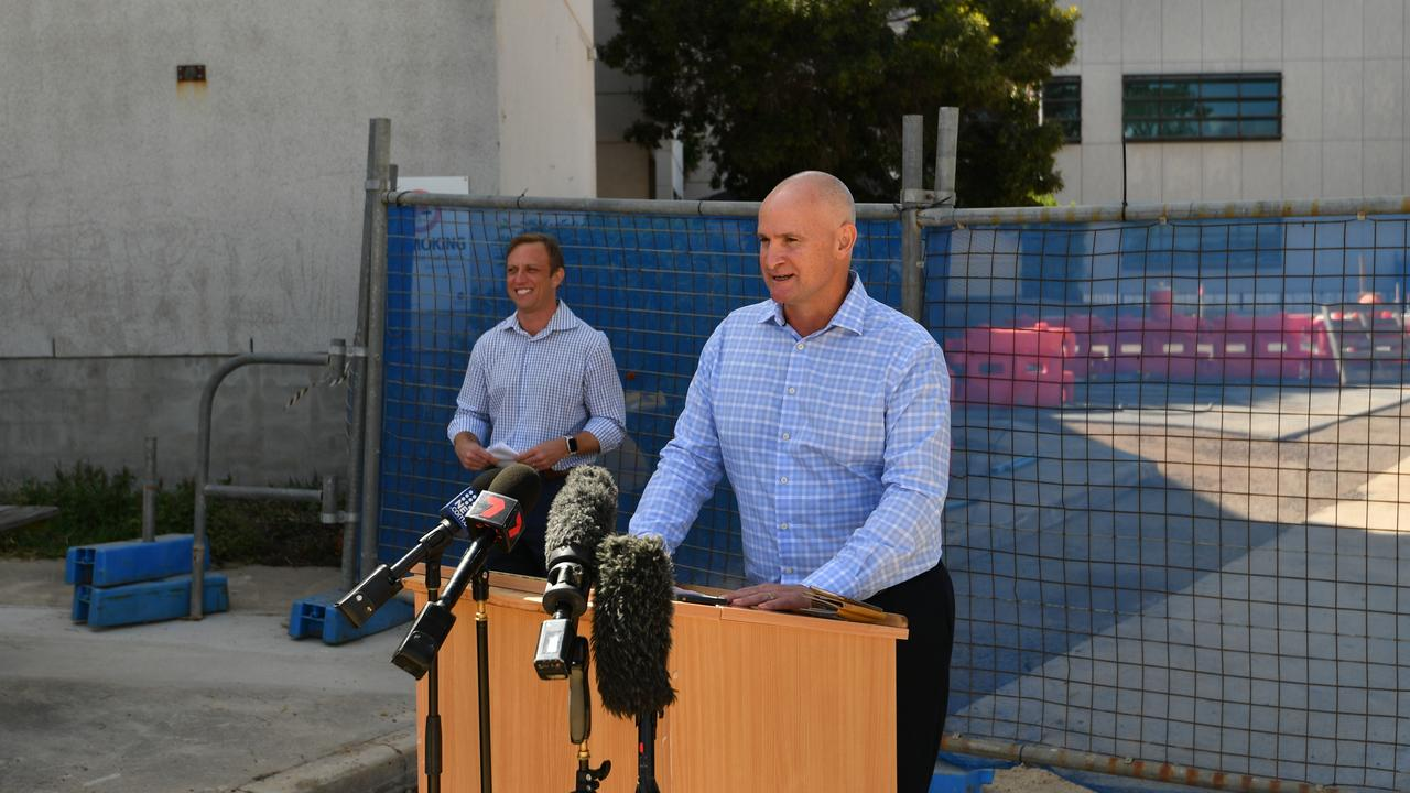Gladstone MP Glenn Butcher with Health Minister Steven Miles announcing plans to purchase the city's Mater Hospital.