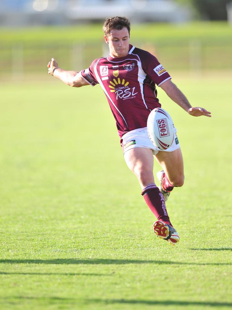 Ben Whiddon kicks up field for the Sunshine Coast Sea Eagles. Photo: Brett Wortman