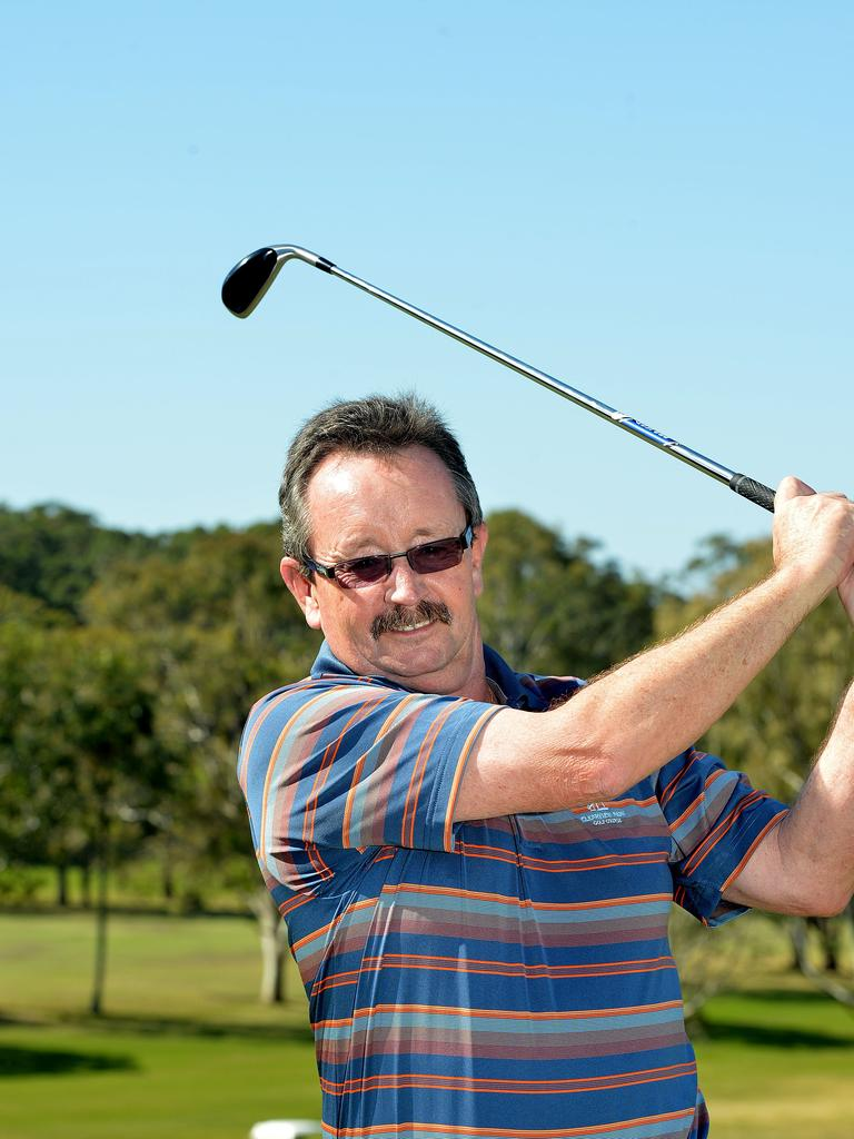 Brent Dalby celebrating his first hole-in-one at Headland Golf Club. Photo: Warren Lynam