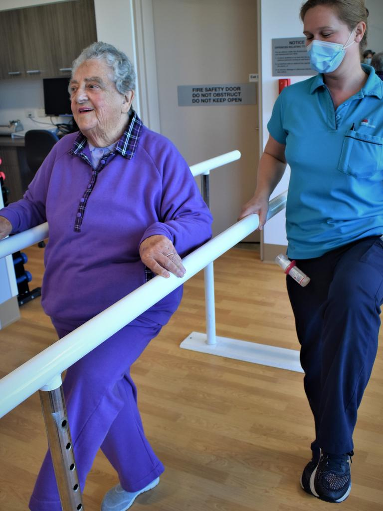 Physiotherapy patient Ellen Mulherin with physiotherapist Melissa Burns at the newly opened $17.5 million Grafton Base Hospital Ambulatory Care Centre on Thursday, 13th August, 2020.