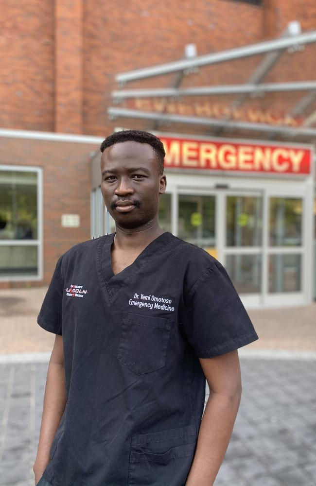 University of Queensland educated doctor Yemi Omotoso works at Lincoln Hospital in The Bronx, New York, which is the busiest emergency department in the city.