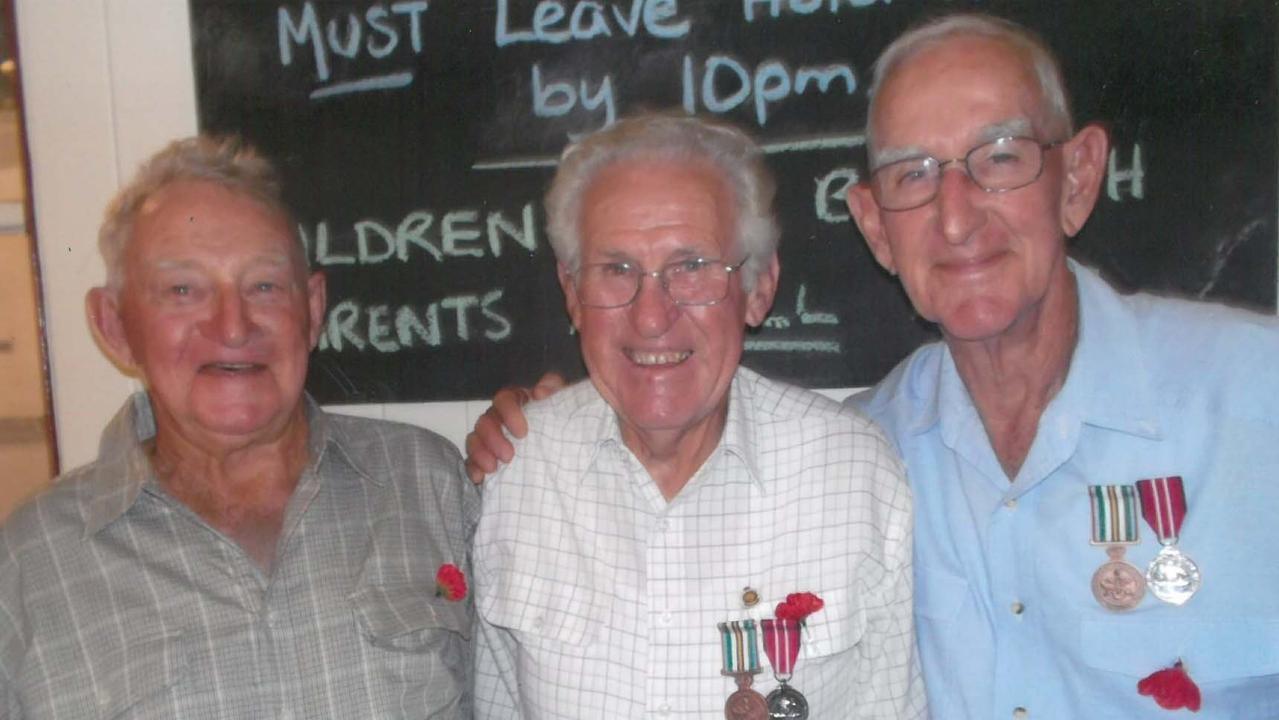 FILE PHOTO: Kandanga Remembrance Day. Long-time Kandanga mates and Vietnam veterans (from left) Kev English, John Williams and Pat Buxton.