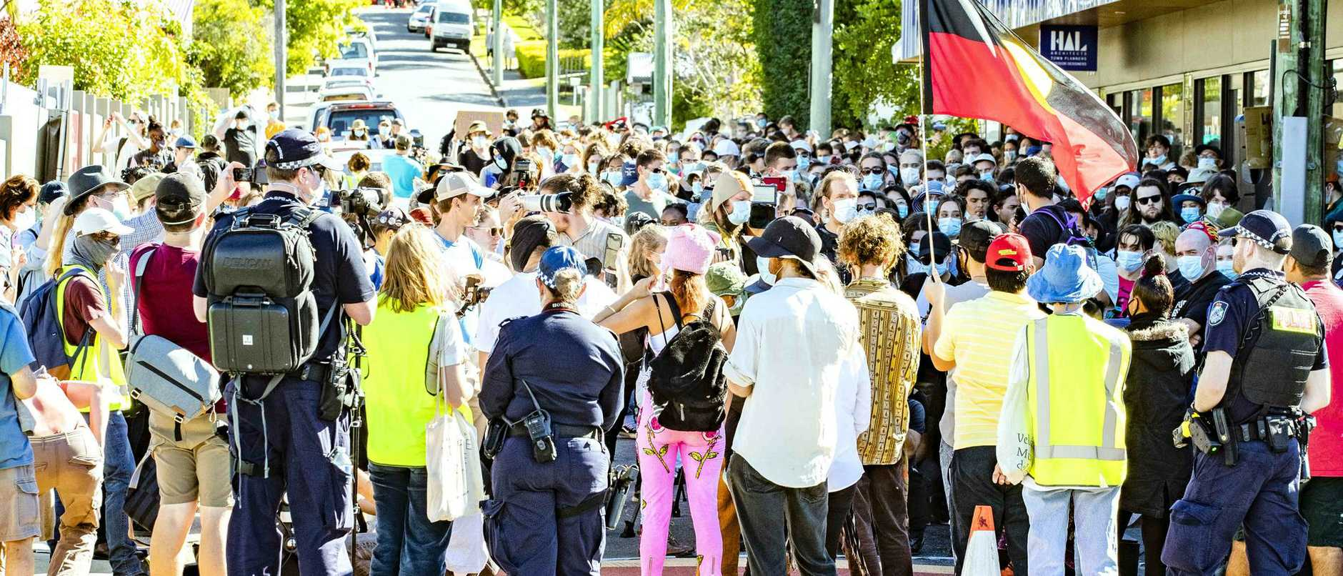 "Refugee activists have cancelled a mass protest amid claims of ""chemical weapons and mounted police"". But they still plan to go ahead with action tomorrow."
