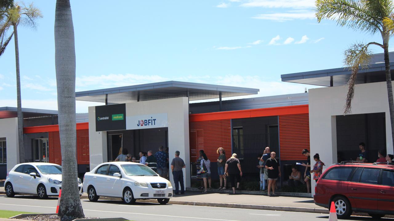 The line up outside Gladstone Centrelink this morning after coronavirus announcements and MyGov crash, March 23, 2020