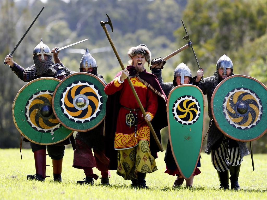 The Jorth Gar Viking re-enactment group in happier times (from left) Todd Hayden, Andrew Duncan, Luke Payne, Jason Locke and Tom Hemy