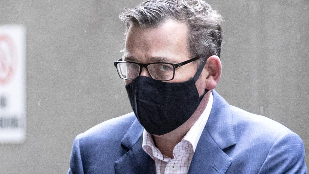 Like all Victorians, Premier Daniel Andrews is seen regularly wearing a face covering (as is currently mandatory in the state). Picture: NCA NewsWire/David Geraghty.