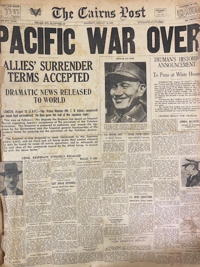 The front page of the Cairns Post that announced the end of the war in the Pacific.