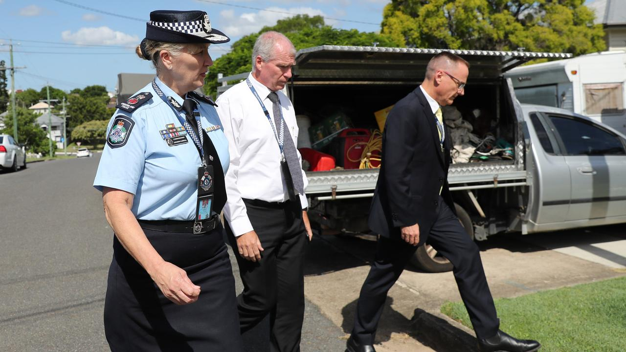 Police commissioner Katarina Carroll arrives at the home of the parents of Hannah Clarke.