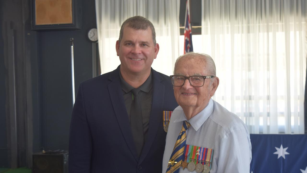 Proserpine RSL sub-branch president Jason Raiteri and WW II veteran George Gnezdiloff.