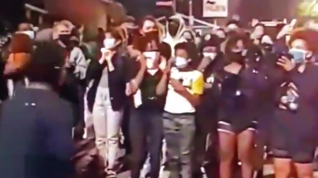 'Give up your house. Give Black people back their homes': Black Lives Matter protesters in Seattle are demanding white people give up their homes during demonstrations in suburbia. Picture: Twitter.